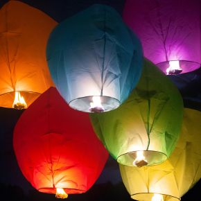 Assorted Color Sky Lanterns 12-Pack